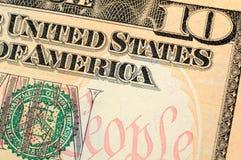 Primer de la cuenta de dólar diez Fotos de archivo libres de regalías