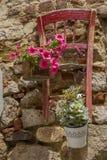 Primer de la decoración floral con los floreros en la pared vieja con de madera fotos de archivo libres de regalías