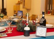 Primer de la decoración de la tabla del ` s del Año Nuevo Foto de archivo