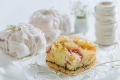 Primer de la empanada sabrosa del yogur con la migaja y las frutas frescas fotografía de archivo