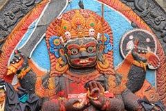 Primer de la estatua de Kal Bhairav en el cuadrado de Katmandu Durbar en Kath Fotos de archivo