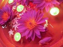 Primer de la flor de loto con las velas ardientes Imágenes de archivo libres de regalías