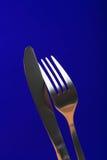 Primer de la fork y del cuchillo Fotos de archivo libres de regalías