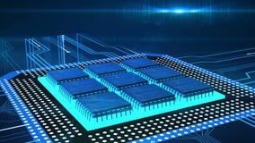 Primer de la frontera con procesos corrientes del ordenador, CPU del circuito que procesa datos ilustración del vector