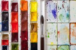 Primer de la gama de colores de la acuarela Fotos de archivo libres de regalías
