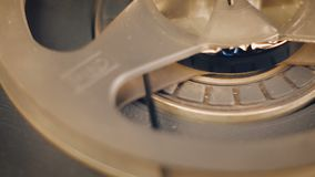 Primer de la grabadora de carrete vieja almacen de metraje de vídeo