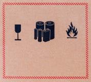 Primer de la imagen del símbolo frágil del negro del grunge imagenes de archivo