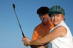 Primer de la lección de golf Imagen de archivo