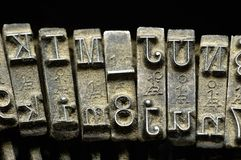 Primer de la máquina de escribir vieja Fotografía de archivo