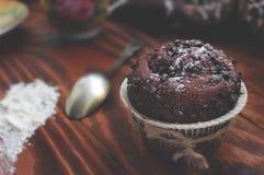 Primer de la magdalena del chocolate Fotos de archivo libres de regalías