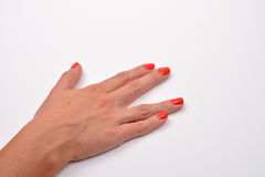 Primer de la mano de la mujer que hace la muestra en el fondo blanco Foto de archivo libre de regalías
