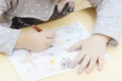 Primer de la mano de los childs que dibuja un avión foto de archivo