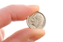 Primer de la moneda de diez centavos de Roosevelt Foto de archivo libre de regalías