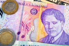 Primer de la moneda extranjera de Rumania del currenci del International del dinero Fotos de archivo