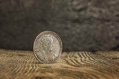 Primer de la moneda rusa vieja en un fondo de madera Fotos de archivo libres de regalías