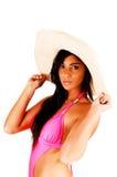 Primer de la muchacha con el sombrero. Imagenes de archivo