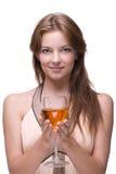 Primer de la muchacha hermosa con el vidrio de alcohol Fotografía de archivo libre de regalías