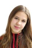Primer de la muchacha hermosa en el fondo blanco Imagenes de archivo