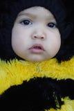 Primer de la muchacha vestido como una abeja Foto de archivo libre de regalías