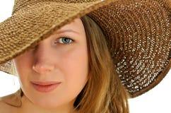 Primer de la mujer en sombrero Foto de archivo libre de regalías