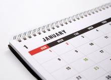 Primer de la página de enero del calendario Foto de archivo libre de regalías