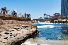 Primer de la pared de mar que pasa por alto la piscina del ` s de los niños de La Jolla Fotos de archivo libres de regalías