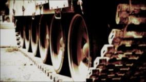 Primer de la película pista-vieja del tanque almacen de video