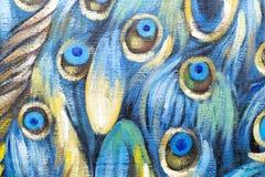 Primer de la pintura al óleo del pavo real Imagen de archivo libre de regalías