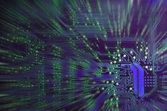 Primer de la placa de circuito electrónica azul Fondo Imagenes de archivo