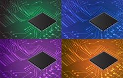 Primer de la placa de circuito electrónica con el fondo del procesador Imágenes de archivo libres de regalías