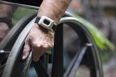 Primer de la silla de ruedas Fotos de archivo libres de regalías