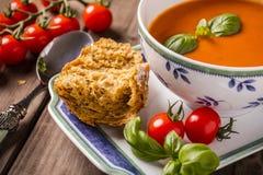 Primer de la sopa de la albahaca del tomate Imágenes de archivo libres de regalías
