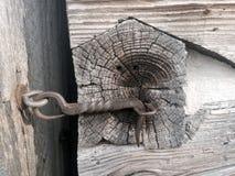 Primer de la sujeción del gancho y del ojo del hierro labrado Foto de archivo libre de regalías