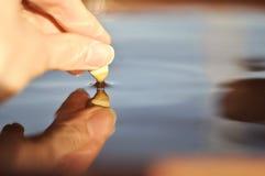 Primer de la superficie conmovedora del agua de la piedra, creando la ondulación fotos de archivo libres de regalías