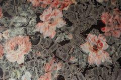 Primer de la tela del telar jacquar con la impresión floral Imagen de archivo libre de regalías