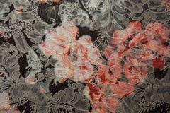 Primer de la tela del telar jacquar con la impresión floral Fotografía de archivo libre de regalías