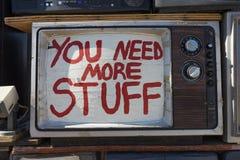 Primer de la televisión del vintage con la escritura en la pantalla Fotografía de archivo libre de regalías