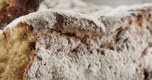 Primer de la torta del bollo de leche Textura de la torta con las pasas almacen de metraje de vídeo