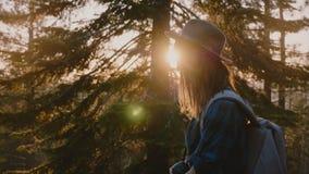 Primer de la vista lateral tirado de la muchacha turística cansada con el pelo largo que camina en el camino forestal en la cámar metrajes