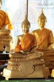 Primer de las estatuas de oro de Buda que meditan Foto de archivo libre de regalías