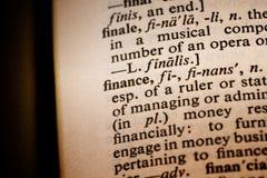 Primer de las finanzas de la palabra foto de archivo libre de regalías
