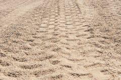 Primer de las pistas del neumático 4x4 en el desierto Fotos de archivo libres de regalías