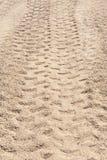 Primer de las pistas del neumático 4x4 en el desierto Foto de archivo