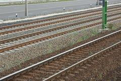 Primer de las pistas ferroviarias Foto de archivo