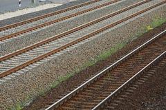 Primer de las pistas ferroviarias Imágenes de archivo libres de regalías