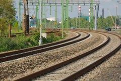 Primer de las pistas ferroviarias Imagen de archivo