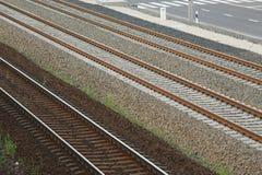 Primer de las pistas ferroviarias Fotos de archivo