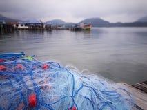 Primer de las redes de enmalle del salmonete Foto de archivo
