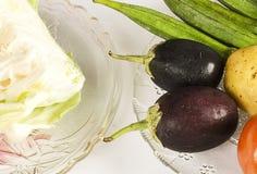 Primer de las verduras frescas, Brinjals con la col Foto de archivo