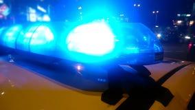 Primer de lightbar en la cabina que destella en la noche, guardianes del coche policía de la ley de servicio almacen de metraje de vídeo